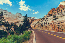 Classic American Southwest Road During A Road Trip To Famous National Parks