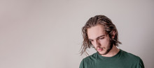 Young Guy Looking Down, Young Boy Or Man, Portrait Photo Of Wet Hair Model With Isolated Blank Area