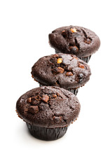 Triple Chocolate Muffins Isolated On White