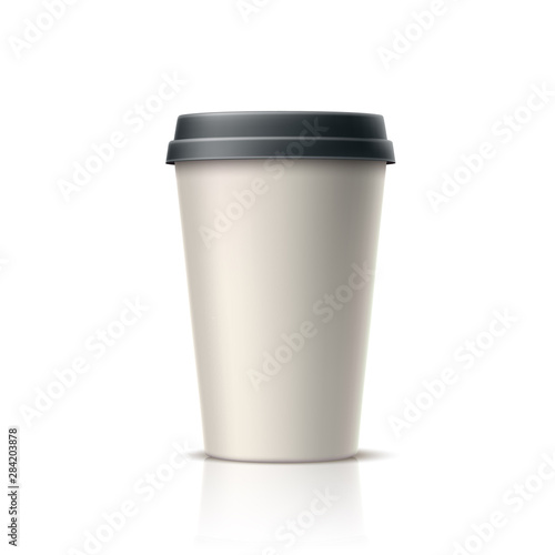 Photo sur Toile Les Textures Realistic coffee, tea disposable cup. Vector takeaway caffeine drink container. 3d espresso, hot beverage in paper container. Coffee in cardboard cup mockup. Morning refreshing drink