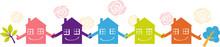 Little Houses Holding Hands Representing A Neighborhood Watch Program, EPS 8 Vector Illustration