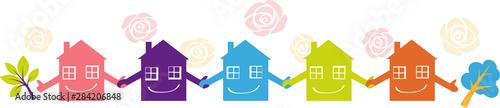 Fotografía Little houses holding hands representing a neighborhood watch program, EPS 8 vec