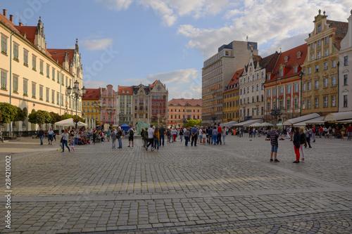Fototapeta summer time on the Rynek in Wrocław (Poland) obraz na płótnie
