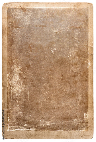 Old used paper photo frame isolated white background Wall mural