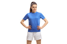 Young Female Soccer Player Posing