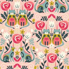 Unicorn Cats Pattern Seamless Design Illustration