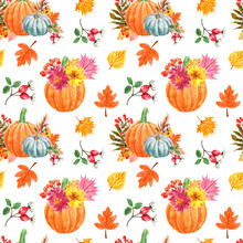 Festive Autumn Seamless Pattern With Watercolor Orange Pumpkins, Mums Flowers, Colorful Tree Leaves And Berries, Isolated On White Background. Decorative Fall Botanical Art Print For Holiday Design.