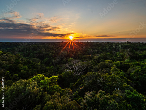 Sunrise at the forrest. MUSA, Manaus-AM Canvas Print