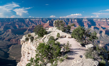 USA, Arizona, Coconino County, Grand Canyonyon National Park. The White Isthmus Of Shoshone Point Perched Along The South Rim Provides One Of The Finest Views In The National Park.