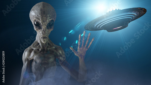 Photo sur Aluminium UFO gray alien. 3d render