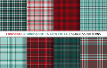 Set Of Christmas Houndstooth A...