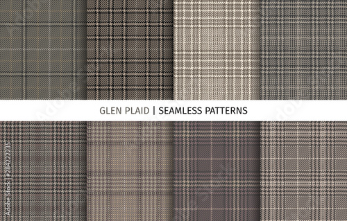 Photo  Set of glen check seamless patterns.