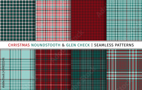 Photo  Set of christmas houndstooth and glen check seamless patterns