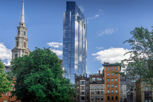 The Contract Of Old And New Buildings Around The Historic Center Of Boston Near Boston Commons Park