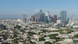 Los Angeles Downtown from Pico Union Aerial Shot Backward