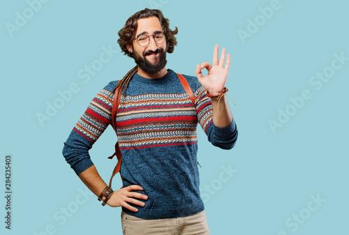 Fotografie, Obraz  young hippie man okay sign