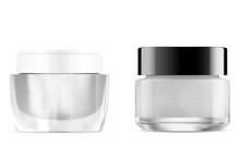 Cream Jar. Glass Cosmetic Jar. Clear Round Container Without Label. Plastic Packaging Mockup For Face Care Product. 3d Design Of Glossy Packaging For Powder, Scrub, Butter, Lotion. Transparent Package