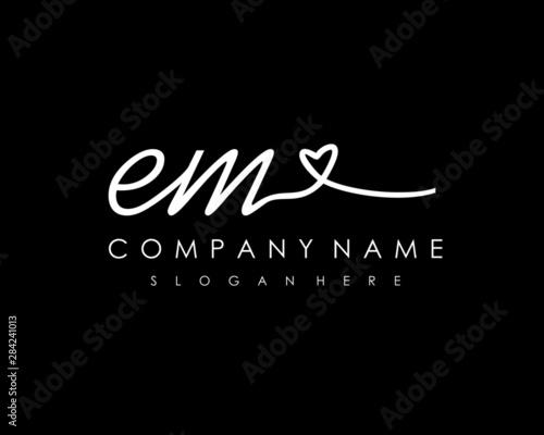 Photo  EM Initial handwriting logo vector