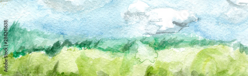 Garden Poster Light blue Hand Drawn Abstract Watercolor Landscape
