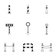 Set Of Black And White Column Bollard Icon With Guard Post Sentry Flat Style, Vector Illustration