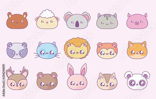 group of cute animals baby kawaii style Canvas Print