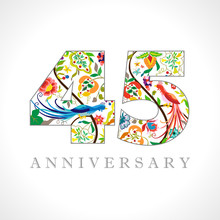 45 Years Old Logotype. 45 Th Anniversary Numbers. Decorative Symbol. Age Congrats With Peacock Birds. Isolated Abstract Graphic Design Template. Royal Coloured Digits. Up To 45% Percent Off Discount.