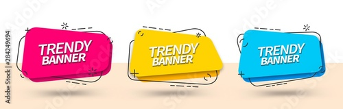 Trendy set of abstract banners square shape in Memphis style. Vector bright template banners. Template ready for use in web or print design. - fototapety na wymiar