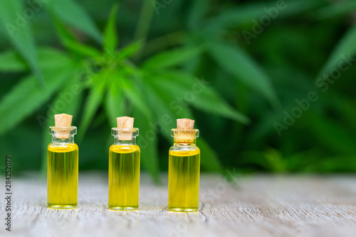 CBD oil hemp products, Medicinal cannabis with extract oil in a bottle on a wooden table Canvas Print