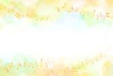 音符と秋のイメージ背景(水彩タッチ)