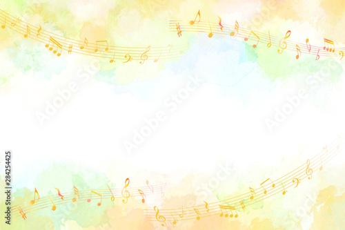 音符と秋のイメージ背景(水彩タッチ) - 284254425