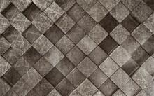 3d Illustration, Dark Gray Square Tile, Abstract Grunge Pattern