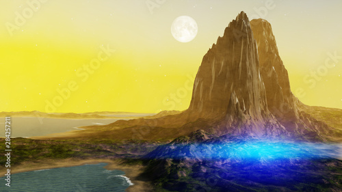 Foto auf AluDibond Gelb fantasy landscape scenery at dawn