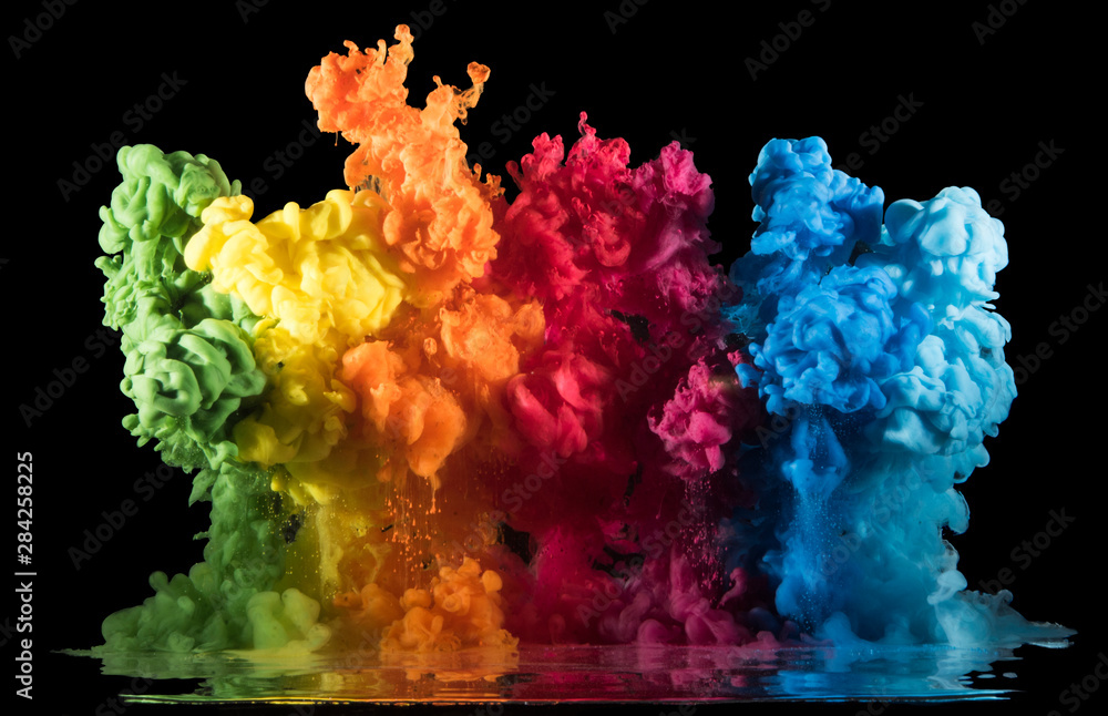 Fototapety, obrazy: Colorful paint drops from above mixing in water. Ink swirling underwater.