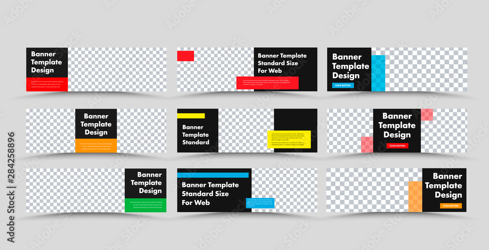 Fototapeta Horizontal black vector web banner templates with colored rectangular for text and place for photo.