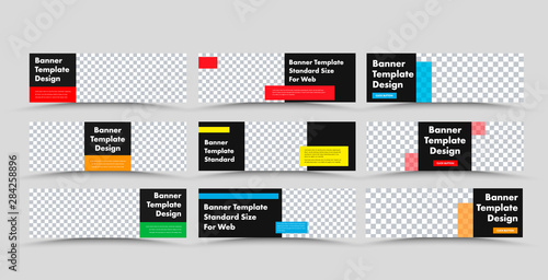 Fotografía  Horizontal black vector web banner templates with colored rectangular for text and place for photo