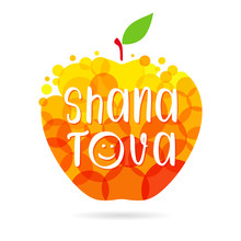 Happy Jewish New Year Congrats. Shana Tova Text. Abstract Isolated Graphic Design Template. Meal And Fruit Elements. Honey Apple With Bubbles And Inscription. Celebrating Conratulating Decorative Sign