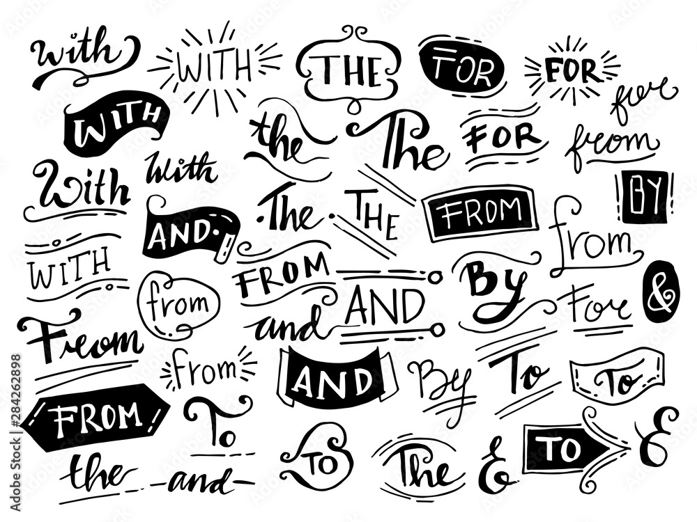 Fototapeta doodle ampersands, catchwords, calligraphy, ribbon. Hand drawn design elements set. words, With,from, by, for, to, the, and