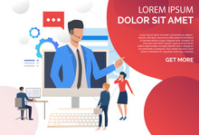 Call Center Operator Wearing Headset And Consulting Clients. Assistance, Telemarketing Concept. Presentation Slide Template. Vector Illustration For Topics Like Customer Support, Call Center