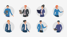 Business People Making Phone Calls. Male And Female Customer Support Phone Operators. Vector Illustration For Banner, Brochure, Commercial