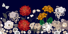 Vintage Border With Dahlias And Asters.