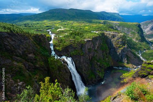 Beautiful view of the Voringsfossen waterfall. .