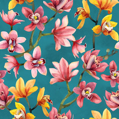 Panel Szklany Do restauracji Seamless pattern of yellow, rose orchid flowers and leaves on blue background.