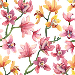 Seamless pattern of yellow, rose orchid flowers and leaves isolated on white background.
