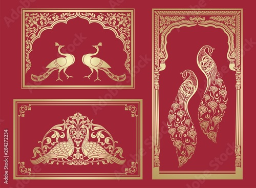 Cuadros en Lienzo peacock motif designs, textile , Rajasthan, royal India