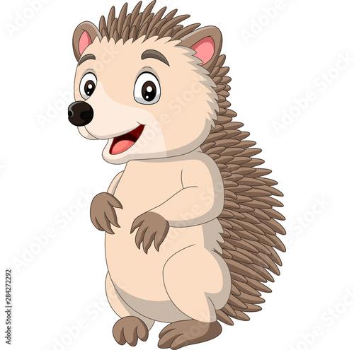 Photo Cartoon happy hedgehog standing on white background