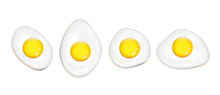 Vector Realistic Fried Eggs Set