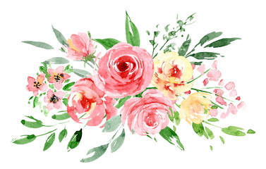 Naklejka Kwiaty Watercolor flowers, pink roses. Floral bouquet clip art. Perfectly for printing design on invitation, card, wall art and other. Isolated on white background. Hand painted.