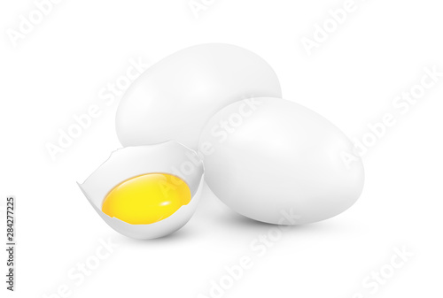 Photo sur Toile Les Textures Realistic vector white eggs and yolk on white background