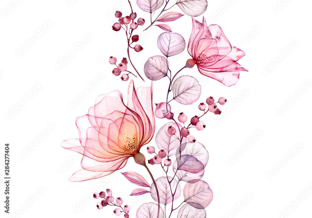 Fototapeta Transparent watercolor rose. Seamless vertical border floral illustration. Isolated hand drawn arrangement with berries for wedding design, stationery card print