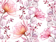 Transparent Rose Watercolor Seamless Pattern. Hand Drawn Floral Illustration With Pink Berries For Wedding Design, Surface, Textile, Wallpaper